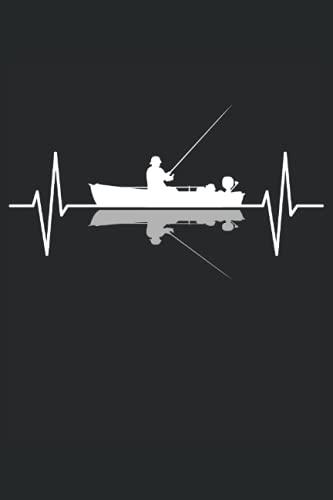 Angler Angeln Fischer Angelboot EKG Linie Geschenk Notizbuch (Taschenbuch DIN A 5 Format Liniert): Angler Herzschlag Geschenk Notizheft, Schreibheft, ... Angler die vom Boot angeln. Fischerboot Motiv