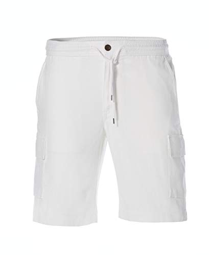 Cubavera Men's Drawstring Linen Cargo Short, Bright White, X Large