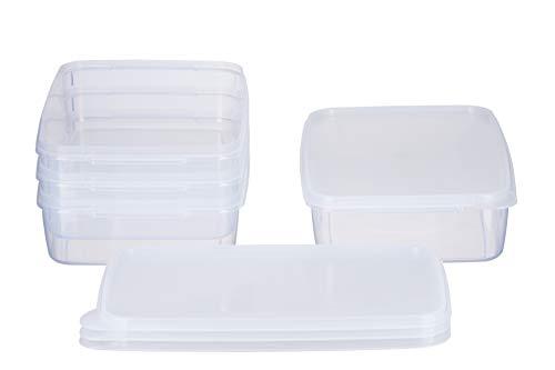 MiraHome Frischhaltedose Gefrierbehälter 2l rechteckig flach 28x18x6,5cm 4er Set transparent Austrian Quality