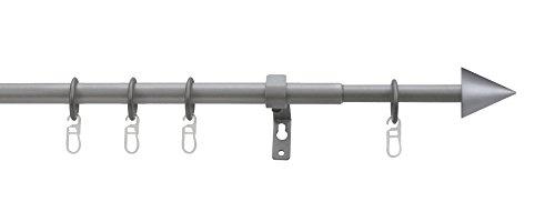 Tilldekor ausziehbare Gardinenstange PALMA, silber, Ø 13/16 mm, 1-Lauf, 70 - 120 cm, inkl. Trägern und Ringen