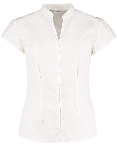 KUSTOM KIT pour Femme Col en V à Manches Cap Continental Blouse, Workwear, Smart, UNI - Blanc - 46