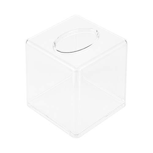 OUNONA Caja de pañuelos de acrílico cuadrado de la moda de acrílico transparente titular de pañuelos de papel caja de almacenamiento de manualidades