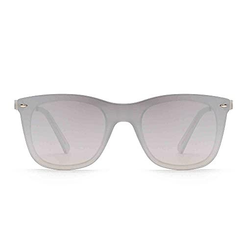 Sonnenbrille Gespiegelt Ein Stück Linsen Rahmenlos Niet Männer Frau UV400(Transparent/Spiegel Silber)