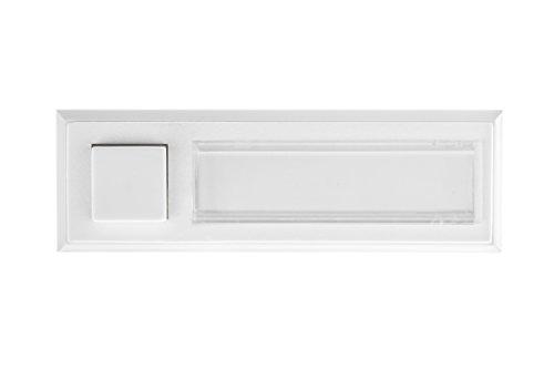HUBER Aufputz Klingeltaster 1-fach aus Polystyrol - Türklingelknopf mit Namensschild beleuchtet - Haustürklingel Aufputz aus Kunststoff - Klingelschalter, Klingel