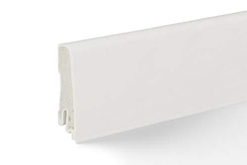 Döllken Abschlussleiste weiß | robuste PVC Leisten 60mm ✓Clip Leiste ✓Küchenleiste ✓Feuchtraum geeignet ✓Gummilippe | Kunststoff Weichsockelleiste weiß | Fussleisten Küche 18x60x2500mm