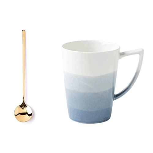 ZANZAN Taza de cerámica y Taza de cerámica de gradiente, Taza de café Multifuncional de microondas, Taza de Bebidas de 350 ml para Leche de café, etc.-Azul (Color : Set)