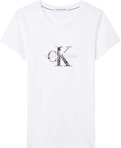Calvin Klein Jeans Seasonal Filled Monogram tee Camiseta, Blanco Brillante/Reptil, M para Mujer