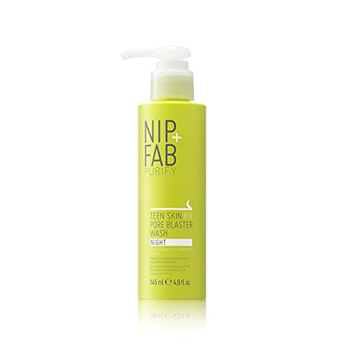 Nip + Fab Teen Skin Fix Pore Blaster Night Face Wash with Salicylic Acid, Wasabi Extract, and Tea Tree Oil Cleansing Purifying Facial Cleanser for Breakouts Acne Prevention and Refining Pores, 4.9 Oz