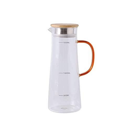 Fengshop Tetera Jarra de Vidrio con Tapa de Filtro Jarrafa de Vidrio con una línea de graduación de precisión para la Jarra de Jugo de té Helado, Bebidas frías/Calientes Tetera Retro