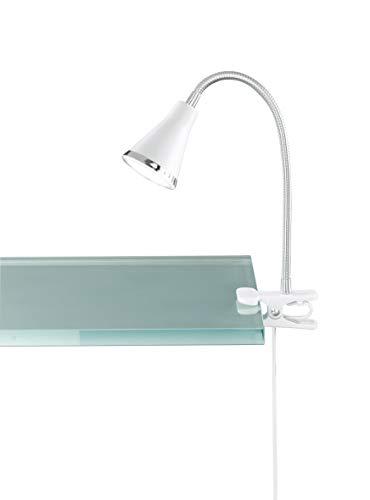 Reality, Lampe à fixer, Arras incl. 1 x LED,SMD,3,8 Watt,3000K,350 Lm. Plastique, Blanc, Corps: Plastique, Blanc Ø:7,0cm, H:40,0cm IP20,Interrupteur de cordon,Flexible