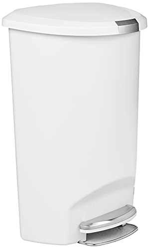 simplehuman 50 Liter Semi-Round Hands-Free Kitchen Step Trash Can with Soft-Close Lid, White Plastic