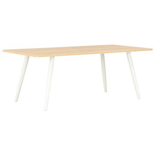 Salontafel 120x60x46 cm wit en eikenkleurig