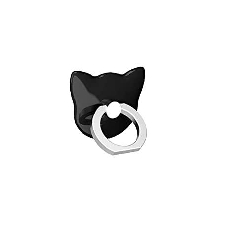 Tuimiyisou la rotación del Anillo de Soporte de Metal Soporte del Anillo del patrón del Gato Universal de teléfono móvil Titular de 360 ??Grados (Negro)