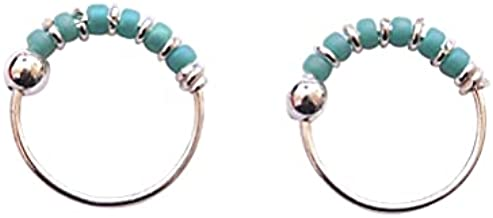 Pair of Small 10mm Sterling Silver Turquoise Beaded Helix, Cartilage, 2nd Ear Piercing | Handmade Dainty Hoops