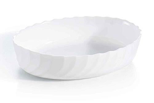 Luminarc - Plat ovale Blanc Smart Cuisine Trianon 250°C - Plat à Four en Verre Innovant - Léger et Extra-Résistant - Nettoyage Facile - Fabrication en France - Dimensions 29x16 cm