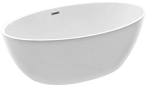 Freistehende Badewanne DESTINO Acryl weiß - 175x100cm - Armatur optional, Standarmatur:Ohne Standarmatur, Siphon:Inkl. Siphon