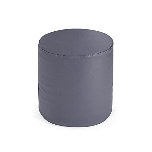 Bepouf Puf Sgabello Rotondo Inki Puff Poggiapiedi Pouf Morbido Ecopelle Pieno (Grigio, 50x50 cm)