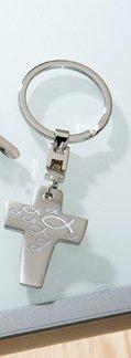 GILDE Schlüsselanhänger Kreuz mit Fisch zur Konfirmation, Kommunion, Taufe Geschenk (Fisch Weiss)