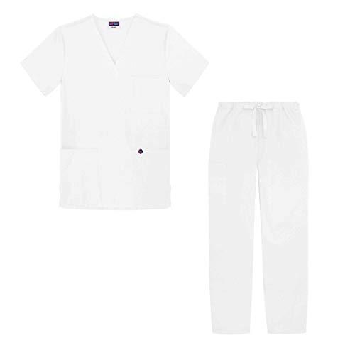 Sivvan Unisex Pflegebekleidung V-Ausschnitt Top/Hose mit Kordelzug - S8400 - White - M