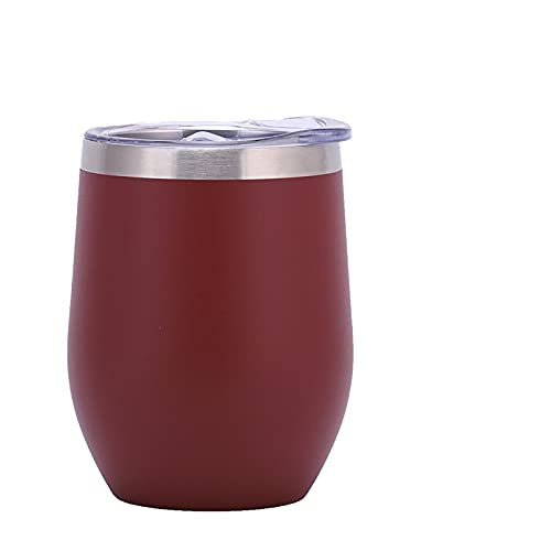 Taza reutilizable de 340 ml para vino/café con tapa, de acero inoxidable, doble pared, aislada al vacío, taza de viaje para café y cóctel de leche (rojo cinnabar, 8,5 x 11,7 cm)