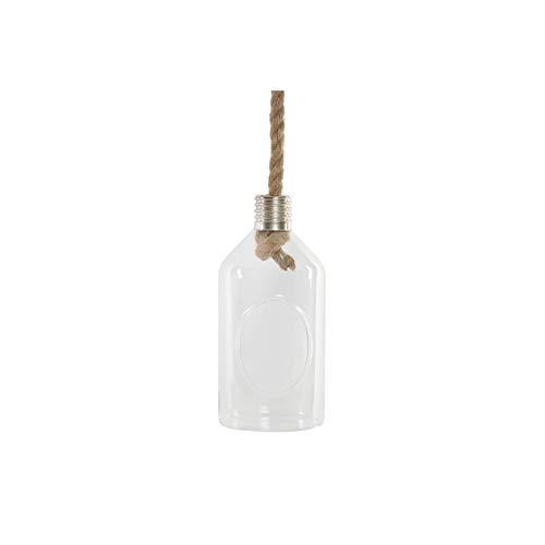 Decoratieve bloempot van glas en touw in flesvorm, voor binnen en buiten. Origineel design - huis en meer