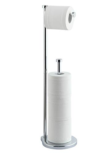 SunnyPoint Free Standing Bathroom Toilet Paper Holder Stand with Reserve, Reserve Area has Enough Space for Jumbo Roll (Chrome)