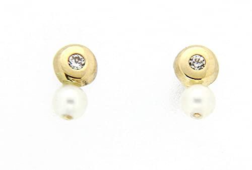 Pendientes perla oro amarillo 18K [8-1989-2-P]