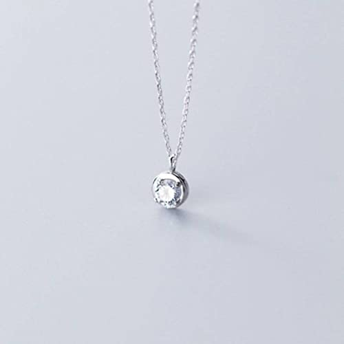Good dress Collar de plata S925, señoras simple redondo de cuatro garras sola clavícula diamante cadena s925 collar de plata