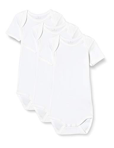 NAME IT Nbnbody 3p SS Solid White 2 Noos Body, Blanco Brillante, 3 años Unisex bebé