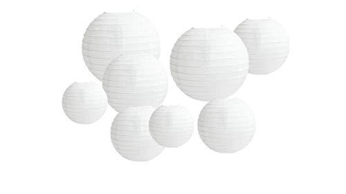 8 stuks grote papieren lantaarns, ronde witte papieren lantaarns met draadstrepen, lampenkappen in verschillende maten, 12 inch 14