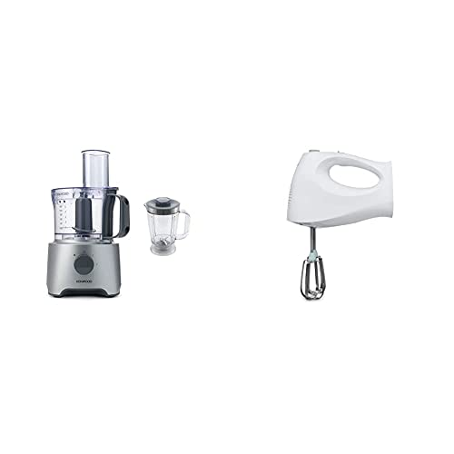 Kenwood Food Processor, 2.1 Litre Bowl, 1.2 Litre Blender, 800 W, FDP301S, Silver & Hand Mixer Electric Whisk with 2 Stainless Steel Beaters, 3 Speed Selection, Ejection Button, 120 W, HM220, White