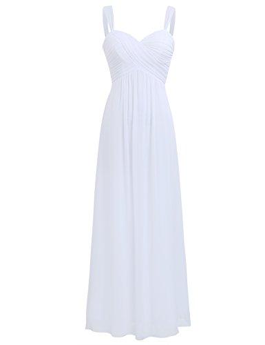 iEFiEL Elegant Damen Kleider Sommer Chiffon Kleid Lang Cocktailkleid Abendkleider Hochzeit Party Kleider Gr. 36-46 Weiß 42