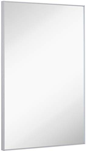 Hamilton Hills Silver Brushed Metal Vanity Mirror Simple Edge Mirrors for Wall -