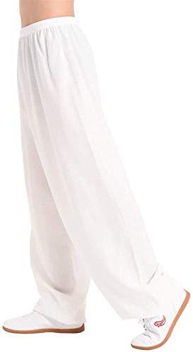 NOLLY Herren Damen Tai Chi Hose Baumwolle Laterne Hose Elastic Waist Sport Yoga Hose Jogger Hose,White-S