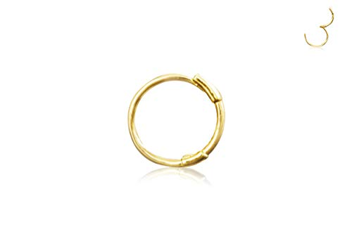 ONDAISY 14K Solid Gold Jewelry 4mm Open Round Circle Tragus Cartilage Snug Inner Outer Conch Daith Helix Ear Segment Clicker Huggie Hoop Ring Piercing Earring For Women