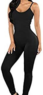 Women Bodysuit Romper Jumpsuits One Piece Body Full Suit Strap Tank with Long Pants Leggings Bodycon Sexy Tight Playsuit, ...