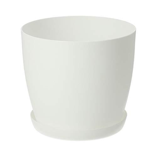 KADAX Maceta, jardinera con platillo, maceta redonda de plástico, maceta mate para cactus, helecho, maceta brillante para balcón, vivienda y terraza (diámetro: 12 cm), color blanco