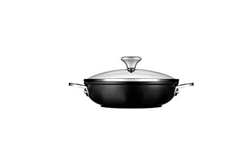 Le Creuset Toughened PRO 2-1/2 qt. Shallow Casserole/Braiser with Glass Lid Nonstick Cookware, 2.5, Grey