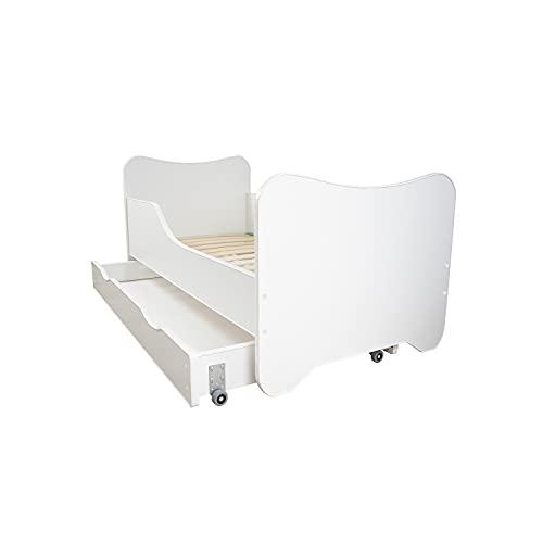 Topbeds - Cama con cajón de almacenamiento para niños con colchón (70 x 140 cm), color blanco