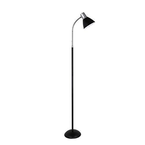 ZMLG LED Lámpara De Pie, 360° Flexible Lámpara De Suelo Cuello De Cisne Para Sala De Estar Oficina Guardería Estudio Lámpara De Lectura,Negro