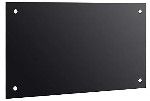 100 x 50 cm Glas Küchenrückwand Glasrückwand Fliesenspiegel Spritzschutz Glasscheibe Herd Spüle Küche, Glasart:Schwarz