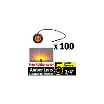 Pack of 100 TMH 3//4 Inch Mount Amber LED Clearance Bullet Marker lights Side LED marker lights for trailer Truck RV Car Bus Van US-Amber