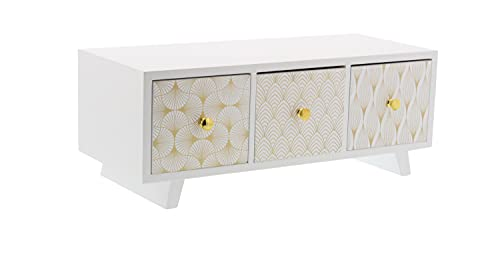Deco 79 85265 Lattice-Patterned 3-Drawer Wooden Jewelry Chest, 6