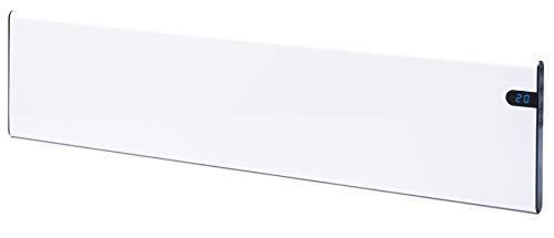 Radiador eléctrico de pared, color blanco, 1000 W, Bendex LUX ECO 200 mm, elegante y delgado, bajo consumo, indicador LED integrado, control de temperatura de día y noche