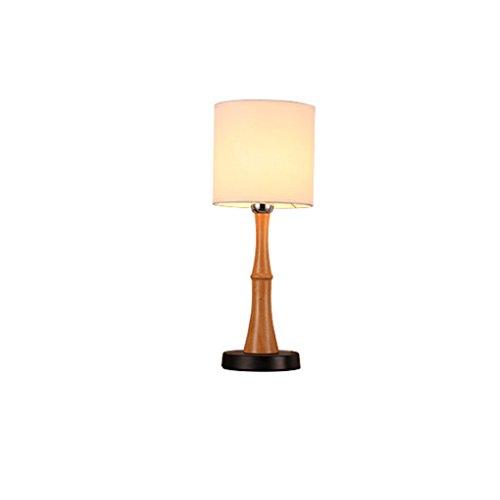 LEGELY Lampe de table en bois massif naturel, lampe de chevet de chambre à coucher nordique, Lampe de table en bois à économie d'énergie créative, Lampe d'éclairage de maison en bambou, E27 Beige