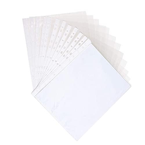 200pcs 11 agujeros de diseño de protectores de hoja de archivo caja fuerte para fotos o copia impresa (Color : Transparent)
