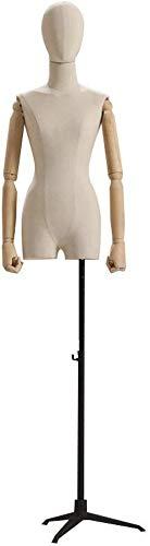 Mannequin Torso Dress Form Mannequin Female Tailors Dummy Mannequin Dressmakers Dummies Fashion Students Display Bust Wood Arm Active Height Adjustable (Color : C)