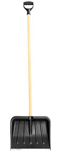 Nerd Clear Schneeschieber Kunststoff/Holz gegen Schneemengen, Blattbreite 41 x 32 cm, Stiellänge ca.140 cm, Schneeschaufel Schneeräumer kälteresistent