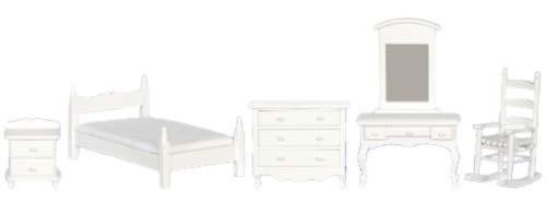 Melody Jane Casa de Muñecas Madera Blanca Individual Dormitorio Conjunto de Muebles Miniatura con Silla Mecedora