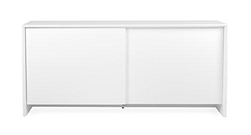 TENZO 5932–001 Profil Designer Buffet 2 Portes coulissantes, Blanc, Structure et façade en Panneaux MDF laqués, 80 x 173 x 47 cm (HxLxP)